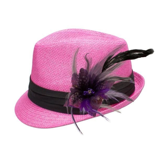 Trachten-Strohhut pink Feder-Clip lila