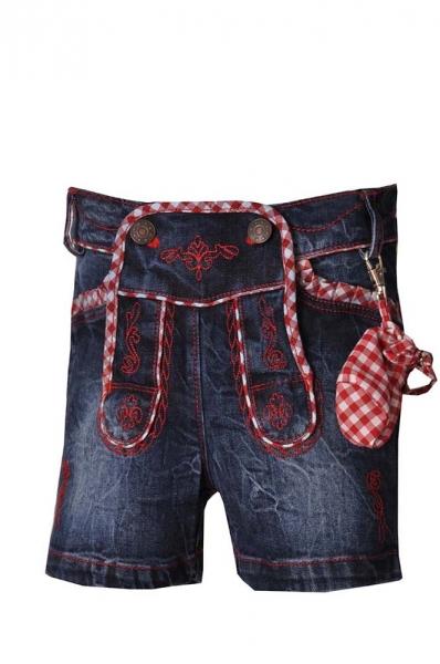 Kinder Jeans kurz Annalena jeansblau/rot Lekra
