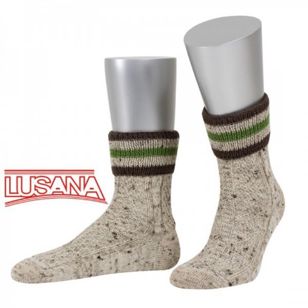 Umschlag-Trachtensocken Ellgau 3-farbig beigemeliert/braun/apfelgrün Lusana