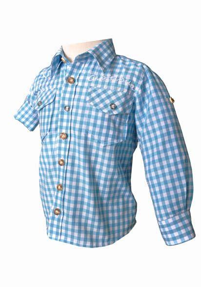 Kinder Trachtenhemd Gipfelbua Langarm türkis Krempelarm v. OS-Trachten