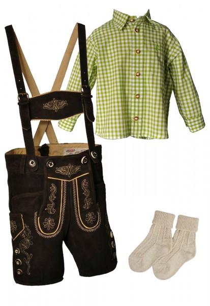Kinder Trachtenlederhosen-Set 4-tlg. kurz dunkelbraun von Lekra mit grünem Hemd von OS Trachten