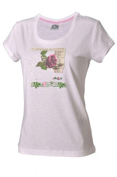 Trachtenshirt Blume weiß/grün/rosa Hammerschmid