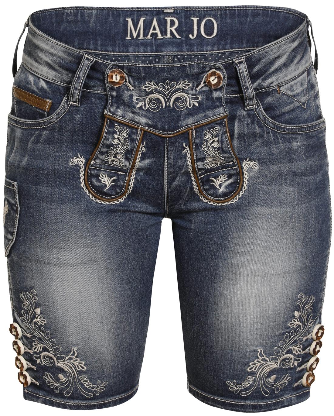 Marjo Trachten Damen Jeans Hose kurz Bermuda blau Lederoptik Franziska Shorts