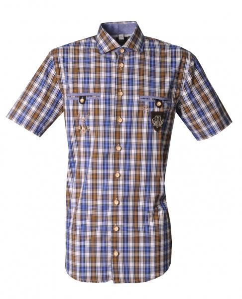 Trachtenhemd Katzenthal hellbraun braun Karo Kurzarm Regular Fit OS Trachten