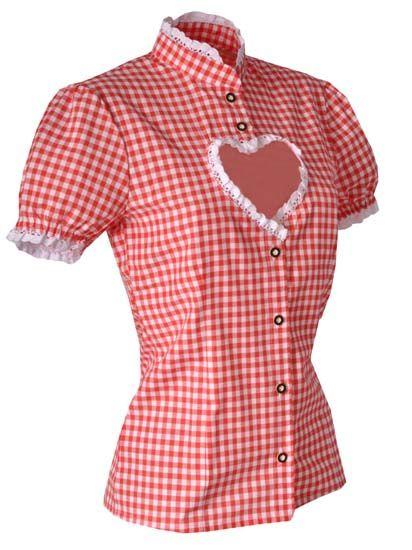 Trachtenbluse Helen rot Karo mit Herzausschnitt