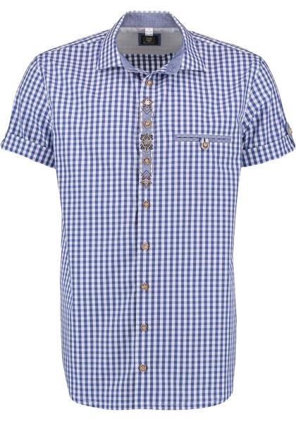 Trachtenhemd Hillaublau kornblau blau Karo Kurzarm Regular Fit OS Trachten