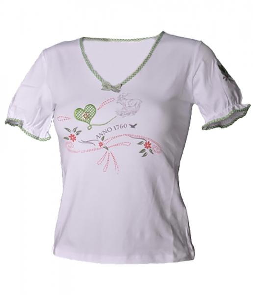 Trachten-T-Shirt Sona weiss/kiwi Anno Stockerpoint