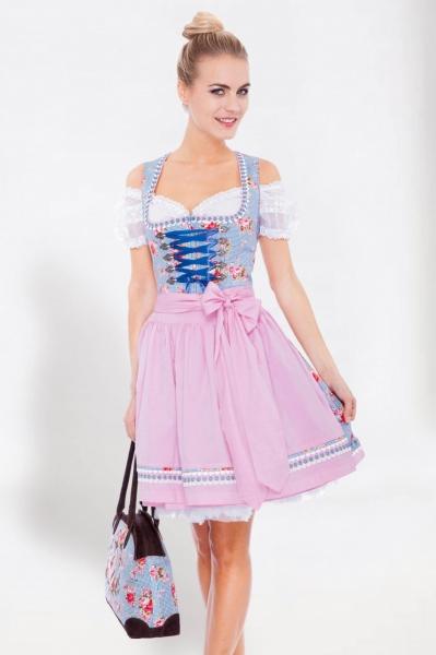 Dirndl mini 50 cm Miss Poppins blau/rosa Krüger