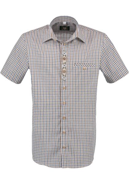 Trachtenhemd Sontheim beige blau Karo Kurzarm OS Trachten