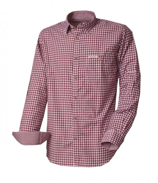 Trachtenhemd Campos3 bordeaux rot Comfort Fit Karo Langarm Krempelarm Stockerpoint