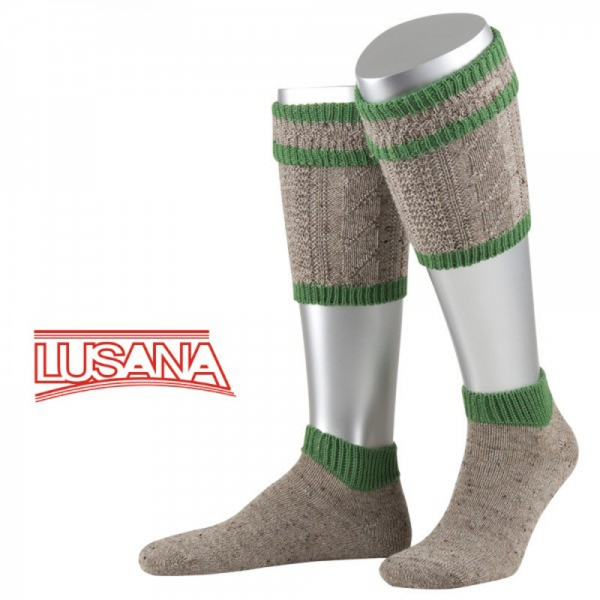 Trachten Loferl Set-2tlg.Elfershausen Loden Tweed braun meliert smaragd grün Wadenwärmer Lusana