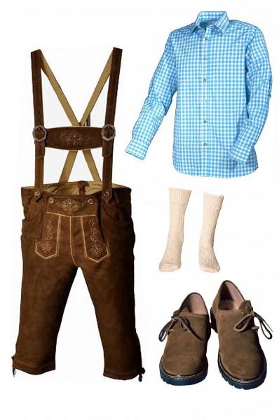 Trachtenlederhosen-Set 5-tlg. Kniebund hellbraun mit türkisem Hemd und Schuhen von Fuchs