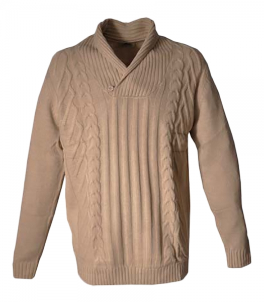 Strickpullover beige Zopfmuster Country
