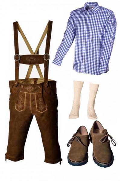 Trachtenlederhosen-Set 5-tlg. Kniebund hellbraun mit blauem Hemd und Schuhen von Fuchs
