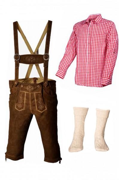 Trachtenlederhosen-Set 4-tlg. Kniebund hellbraun mit rotem Hemd von Fuchs