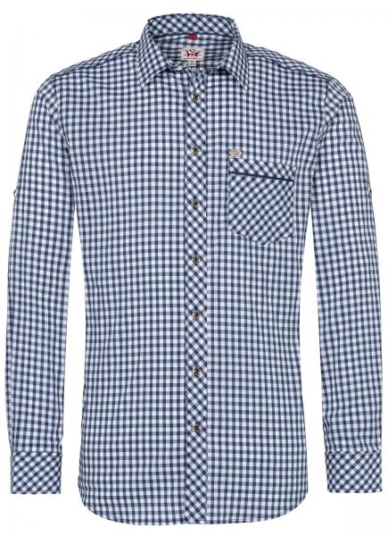 Trachtenhemd Guttenberg blau Langarm Slim Fit Spieth & Wensky