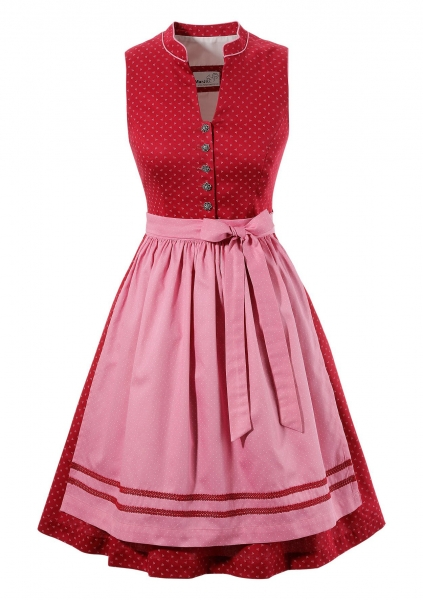 B-Ware / 2. Wahl - Dirndl mini 58 cm Dorita rot rosa Marjo