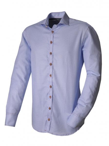 Trachtenhemd Bischofswiesen blau Langarm OS Trachten