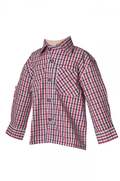 Kinder Trachtenhemd Kilian rot/marine Isar Trachten