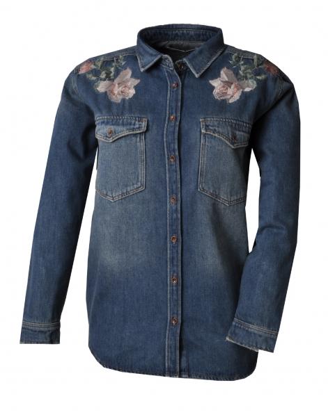 Trachtenbluse Jeansbluse Bluse Jeans Mavi dunkelblau mit Blumenstickerei