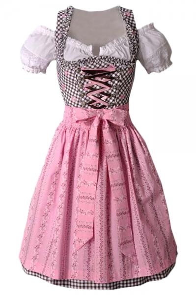 Dirndl midi 60 cm Josephine rosa/braun Fuchs