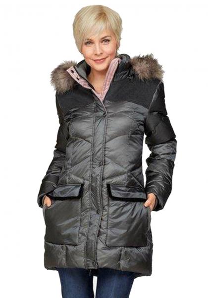 Damen Kurzmantel Winterjacke Aubstadt grau mit Kapuze mit Fellimitat Danwear