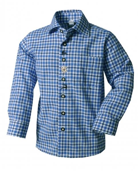 Kinder Trachtenhemd Dornbühl blau Karo Langarm OS Trachten