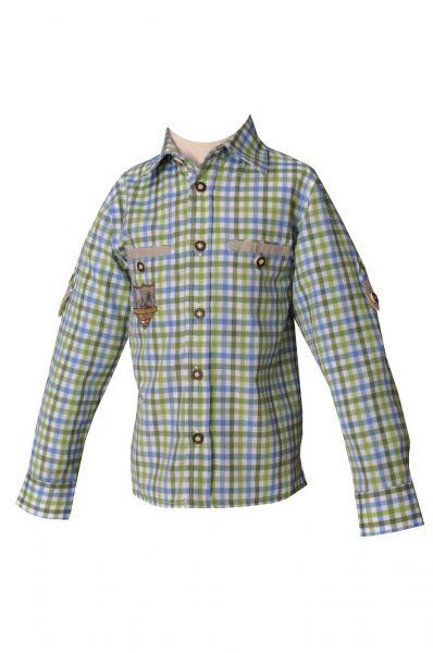 Trachtenhemd Fabian sky/apfel/gras karo Lekra