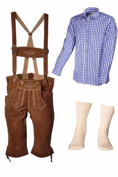 Trachtenlederhosen-Set 4-tlg. Kniebund hellbraun mit blauem Hemd