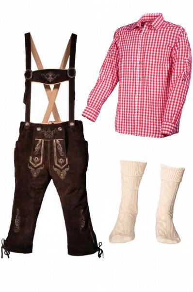 Trachtenlederhosen-Set 4-tlg. Kniebund dunkelbraun mit rotem Hemd
