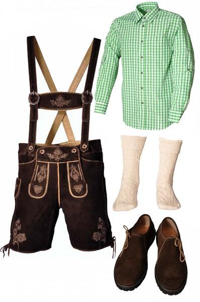 Trachtenlederhosen-Set 5-tlg. kurz dunkelbraun mit grünem Hemd und Schuhen von Fuchs