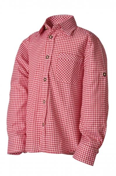 Kinder Trachtenhemd Leon rot/weiß karo Lekra