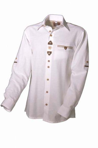 Trachtenhemd Knut weiß Krempelarm OS