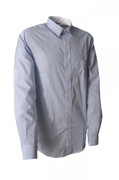 Trachtenhemd Pascal hellblau Karo Melega