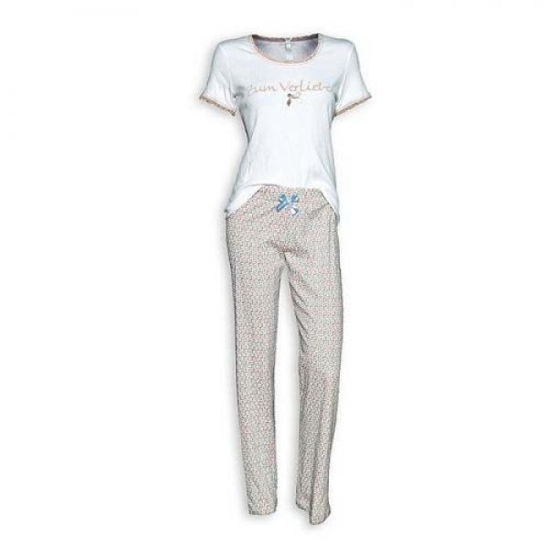 Trachten Pyjama kurzarm Zum Verlieben weiß/taupe Louis & Louisa
