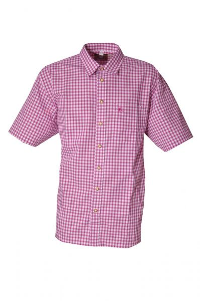 Trachtenhemd Alfons fuchsia pink kurzarm karo Os Trachten