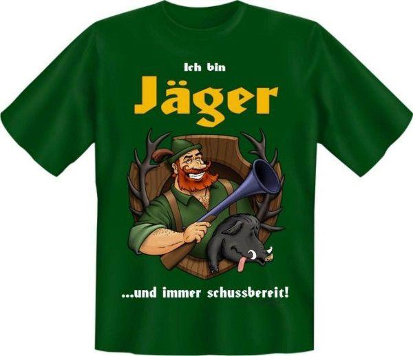 """Trachtenshirt """"Ich bin Jäger und immer schussbereit!"""" grün"""