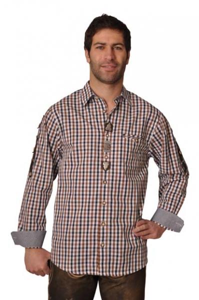 Trachtenhemd Quirin braun Karo Langarm OS Trachten