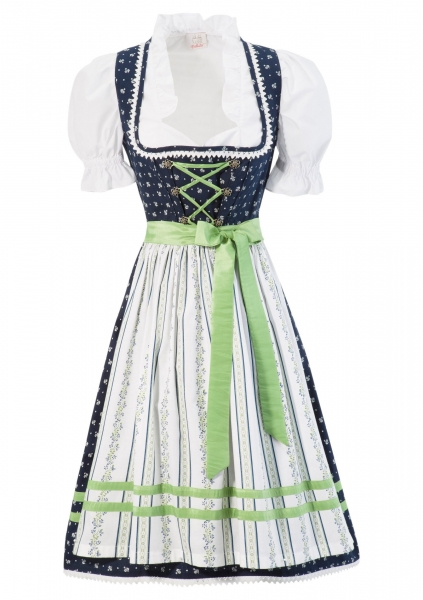 Dirndl 60 cm midi Louisenau blau grün Naber Collection