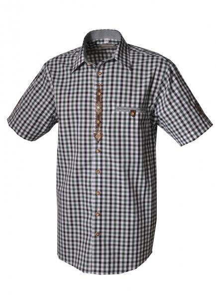 Trachtenhemd Dingolshausen grün/schwarz Karo Kurzarm OS-Trachten