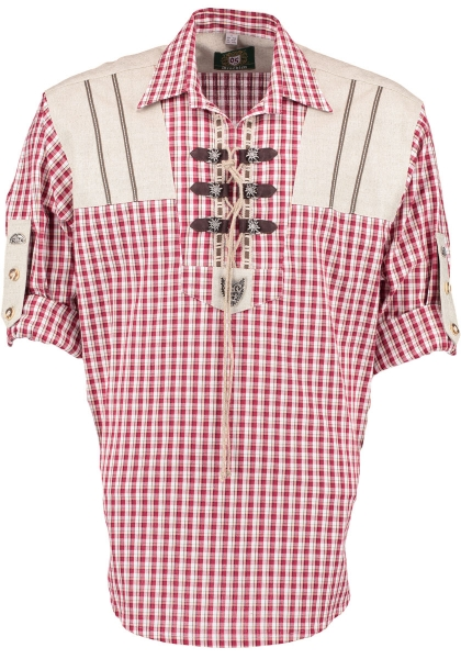 Trachtenhemd Garsberg rot Krempelarm Schlupfform OS Trachten