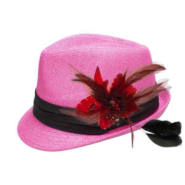 Trachten-Strohhut pink Feder-Clip rot