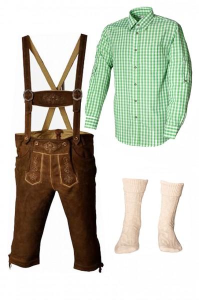 Trachtenlederhosen-Set 4-tlg. Kniebund hellbraun mit grünem Hemd von Fuchs