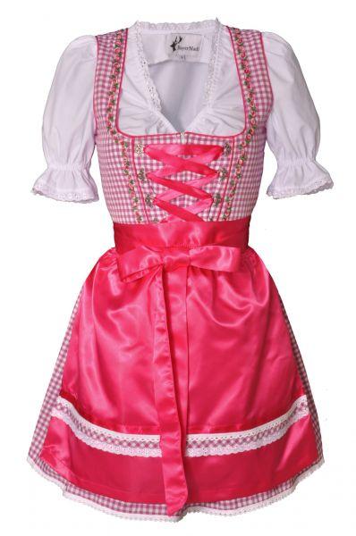 Dirndl mini 50 cm Regine fuchsia/pink Trachtenset 3-tlg. Bayer Madl