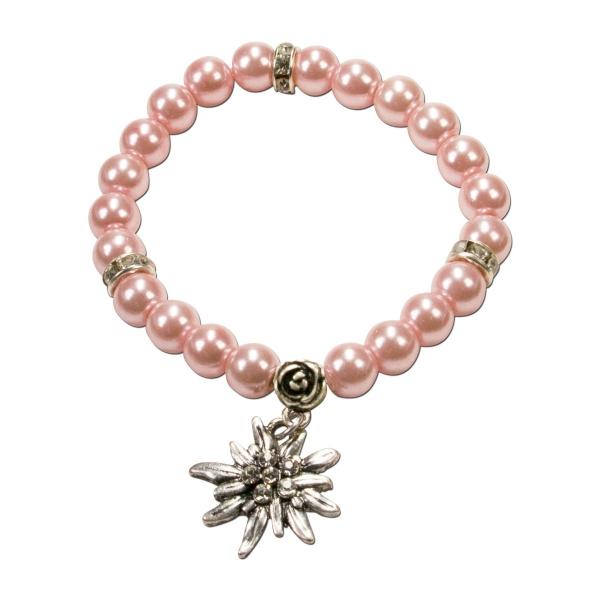 Trachten Armband Segnitz Edelweiß rose Wachsperlen