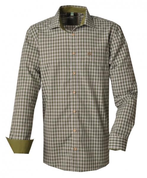 Trachtenhemd Zirndorf oliv grün Langarm Regular Fit OS Trachten
