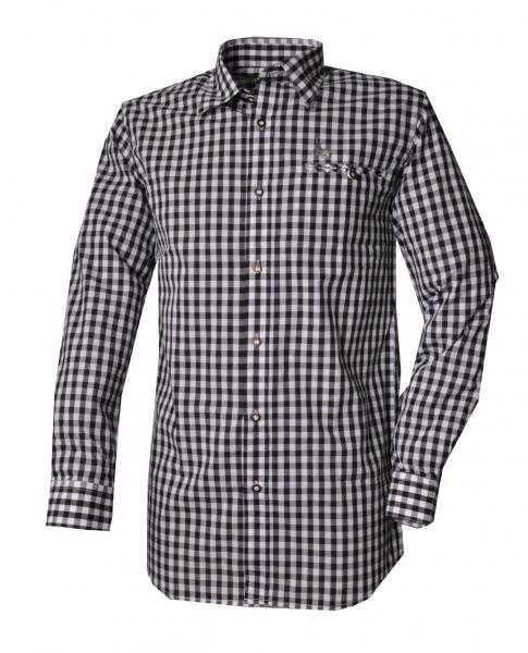 Trachtenhemd Kemnath schwarz Karo Langarm Kitzo Alpen