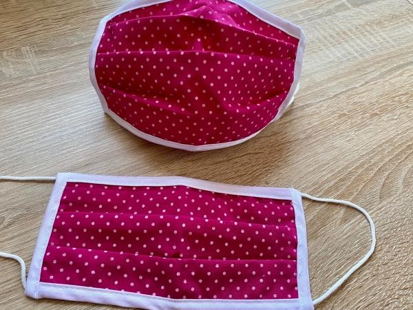 DIRNDL Stoffmaske Mund- und Nasenbehelfsmaske Punkte pink weiss