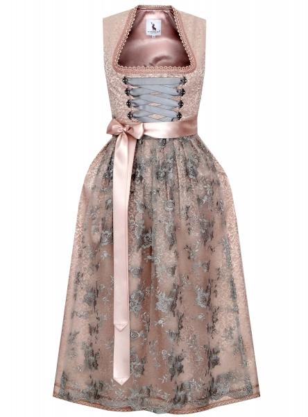 Dirndl lang 85 cm Kitzing rosa silber grau Brautdirndl Festtagsdirndl