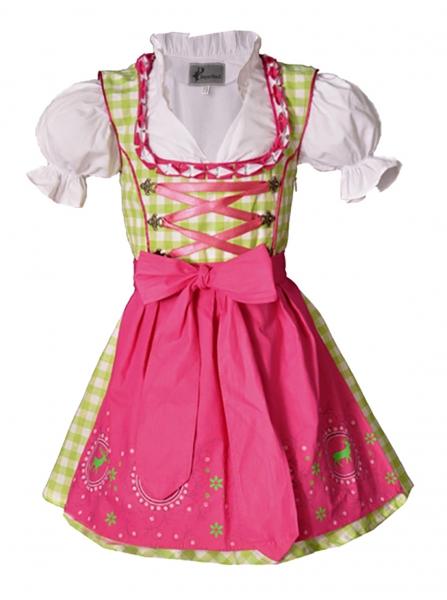 Kinderdirndl Carolin grün/pink Set 3-tlg. Bayer Madl